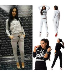 women autumn fashion letter print tracksuits sport hoodies sweatpants casual spo