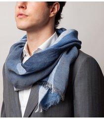 sciarpa da uomo, maalbi, 100% lino rigata blu, primavera estate | lanieri