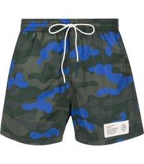 eleventy camouflage print swim shorts - blue