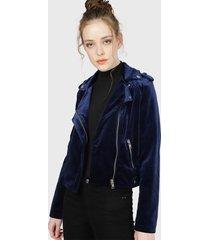chaqueta wados velvet cruzada azul - calce regular