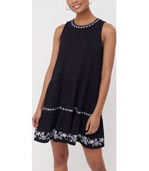 loft embroidered tie back tiered swing dress