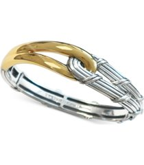 peter thomas roth two-tone interlocking bangle bracelet in sterling silver & 18k gold-plate