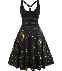 strappy back o-ring star moon print plus size dress