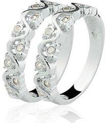 anel aparador de prata 925 com 18 pedras de zircônia natália joias eternity