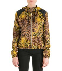 versace jeans couture leo baroque zip-up sweatshirt