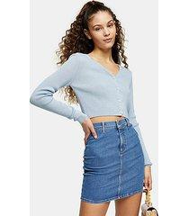 blue stretch denim joni skirt - mid stone