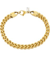 """brushed gold tone stainless steel 6mm franco chain bracelet, 8.5"""""""