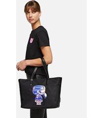 karl lagerfeld women's k/ikonik balloon karl tote bag- black
