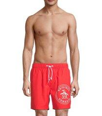 original penguin men's logo swim shorts - flame scarlet - size l