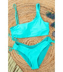 one shoulder bikini set turquoise