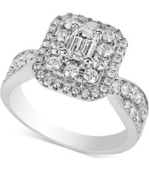diamond halo emerald-cut engagement ring (1-3/4 ct. t.w.) in 14k white gold