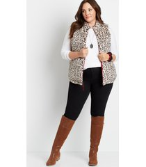 maurices plus size womens leopard reversible sherpa zip up vest red