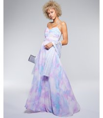 trixxi juniors' embellished-strap tie-dyed gown