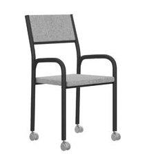 cadeira de escritório tubos pretos tecido cinza carraro