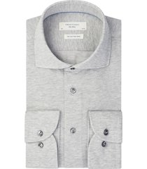 profuomo knitted overhemd pique mercerised grijs