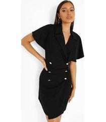 blazer jurk met cape detail, black