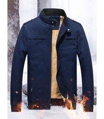 giacche in cotone tinta unita con collo termico invernale spesso in pile da uomo