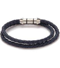 'montecarlo' double wrap silver leather bracelet