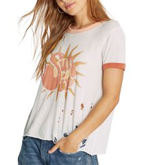 women's wildfox sun in johnny distressed ringer graphic tee, size large - white