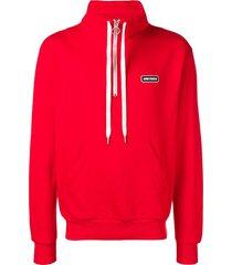 ami ami paris patch half-zipped sweatshirt - red