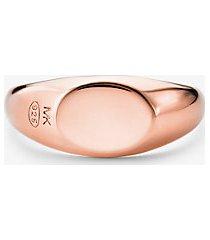 mk anello a sigillo in argento sterling con placcatura in metallo prezioso - oro rosa (oro rosa) - michael kors