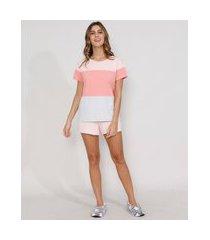 pijama de moletom feminino manga curta com recortes rosa claro
