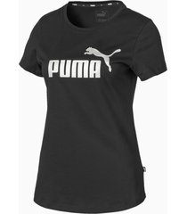 essentials+ metallic t-shirt voor dames, zilver/zwart, maat s | puma