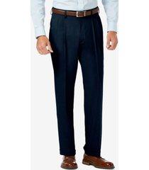 j.m. haggar sharkskin classic-fit pleated hidden expandable waistband dress pants