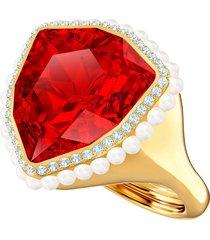 anillo de cóctel lucky goddess, rojo, baño de oro