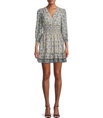 max studio women's floral-print smocked mini dress - beige multi - size l