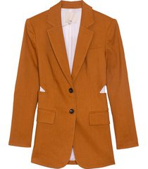 linen cutout blazer in cinnamon