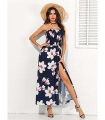 navy random floral print strapless slit hem dress