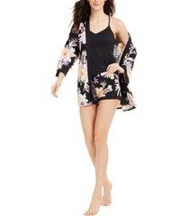linea donatella paisley print robe, cami & shorts 3pc pajama set
