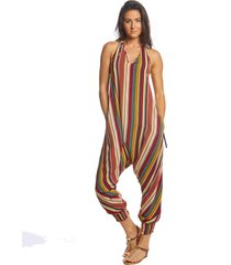 buddha pants women's stripes harem jumpsuit - red xx-small cotton