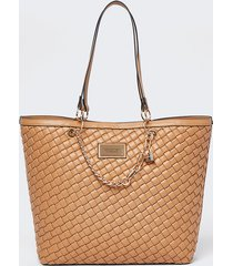 river island womens beige woven gold chain shopper bag