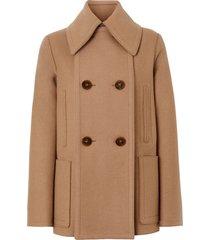 burberry button panel detail wool cashmere pea coat - neutrals