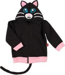 casaco moletom gatinha taioca  rosa - preto - menina - algodã£o - dafiti
