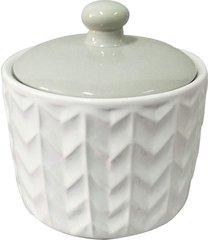 potiche cerâmica tampa cinza chevron