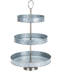 mind reader galvanized steel round cupcake tower, dessert stand with handle, rustic design appetizer serving tray tower, tiered cupcake stand