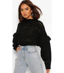 chunky knit high neck ruffle sweater, black