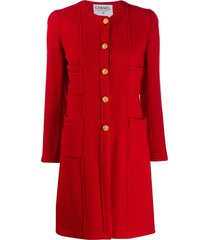 chanel pre-owned 1990s collarless relaxed-fit coat - red