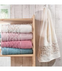 kit 4 toalha de rosto elegance perola - bene casa - tricae