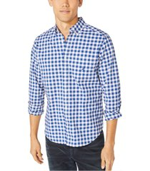 nautica men's blue sail plaid shirt