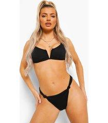 mix & match geribbelde met beugel bikini top, black
