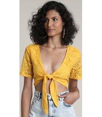 top cropped feminino em renda com amarração manga curta decote v amarelo
