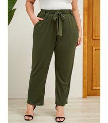 yoins plus talla army green cinturón diseño pantalones