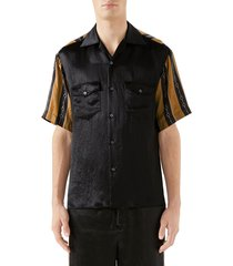 men's gucci mixed media bowling shirt