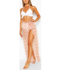 polka dot maxi beach sarong, tan