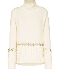 sacai ring-detail wool jumper - white