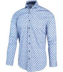blue industry heren overhemd licht met donker stippen perfect fit